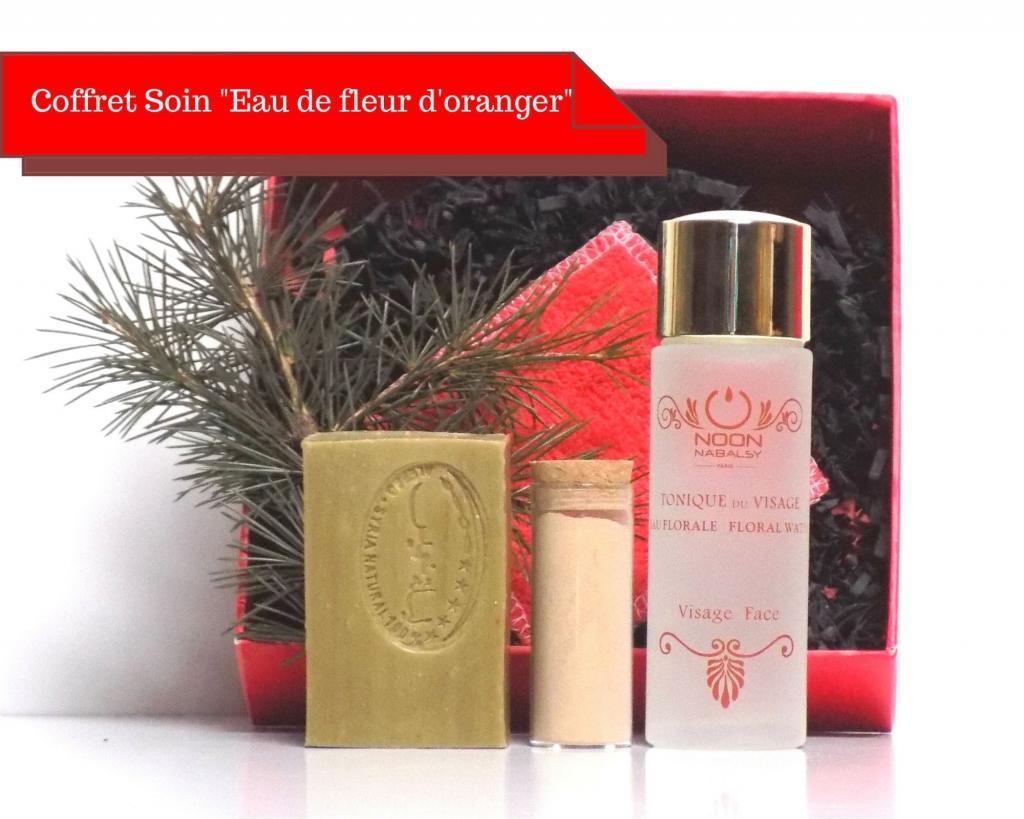 Coffret cadeau soin eau de fleur d'oranger, savon d'Alep et argile rose