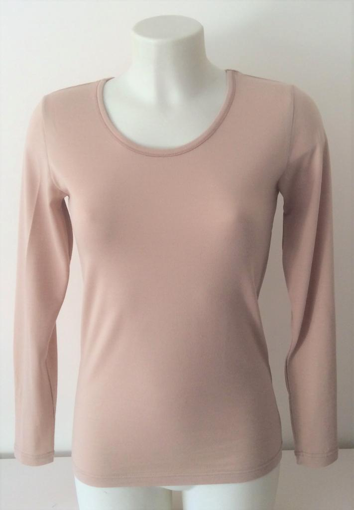 T-shirt femme manches longues col O beige rosé  pure laine mérinos coolman
