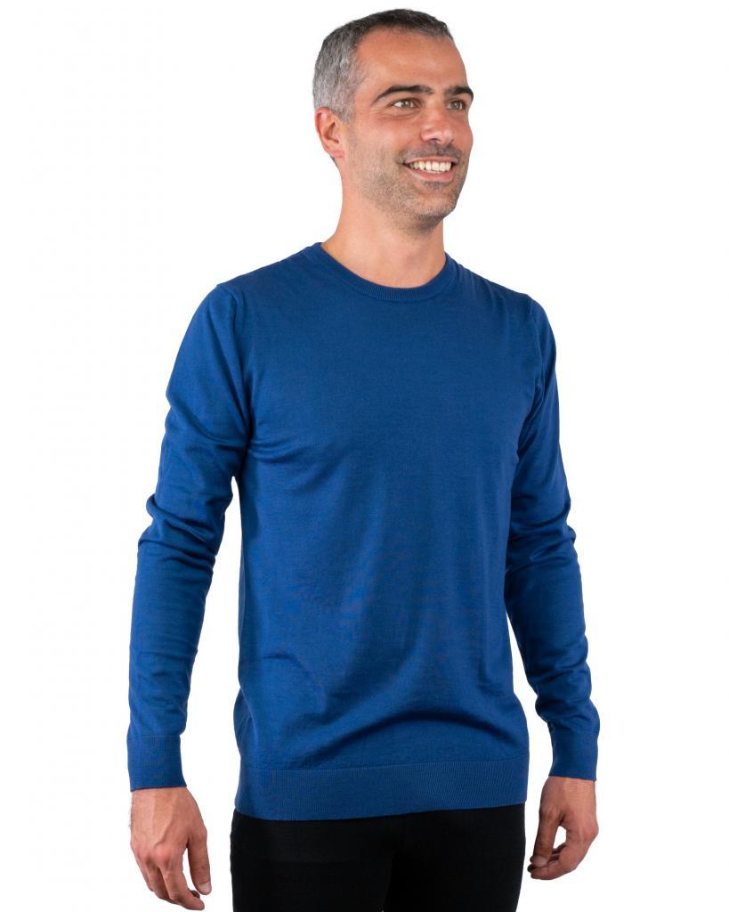 Pull fin à bord côte Bleu pétrole - pure laine Merinos