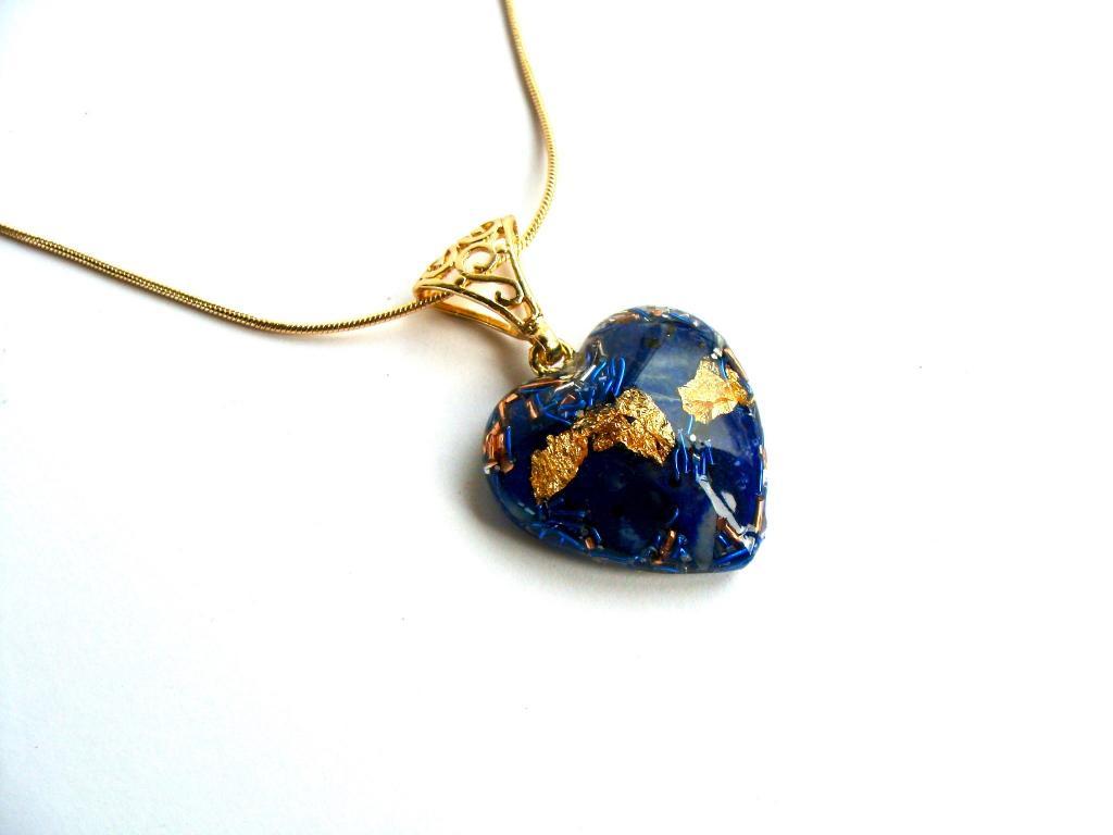 Pendentif orgonite coeur lapis lazuli new