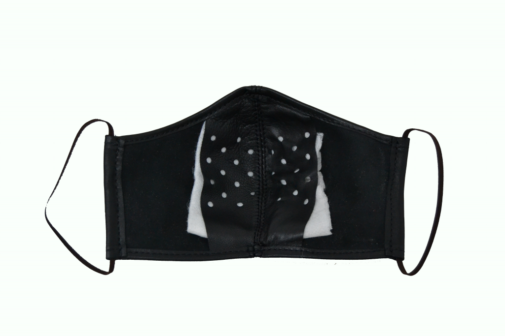 Masque de protection en liège et en cuir naturel avec emplacement pour compresse pharmaceutique