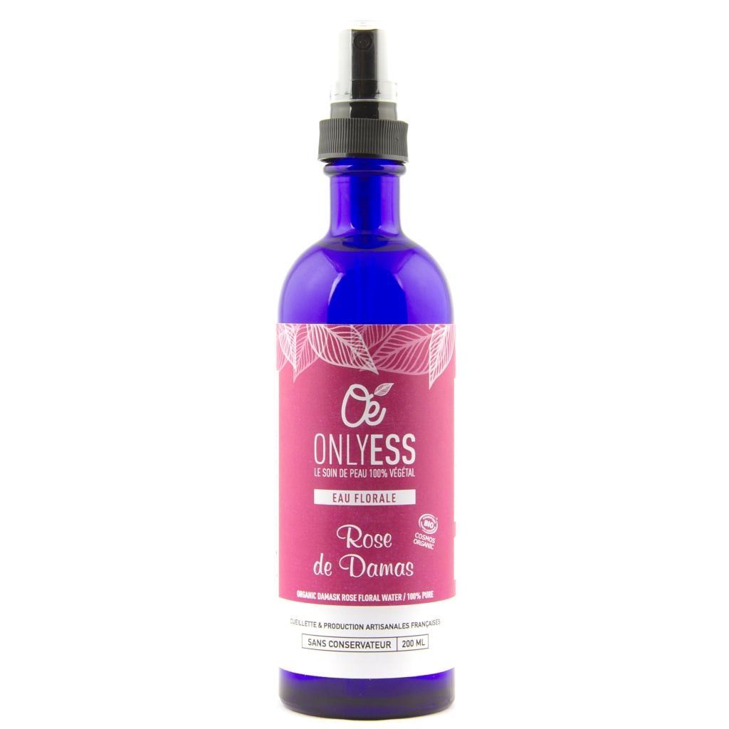 Véritable eau florale de Rose de Damas BIO - Flacon verre 200 ml