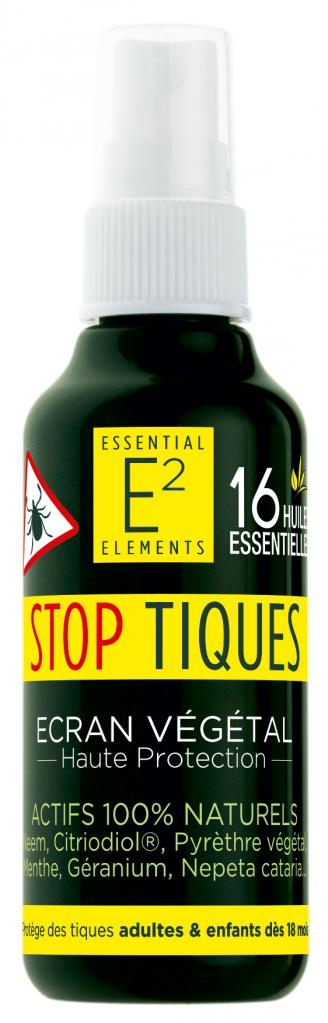 E2 Spray Anti Tiques protecteur 100 % naturel Adultes et Enfants