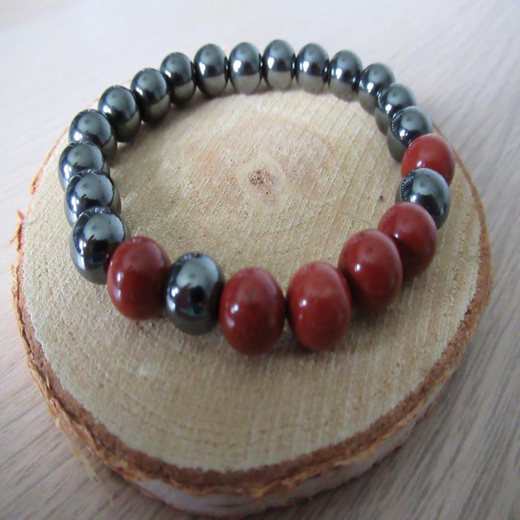 Bracelet hématite et jaspe rouge