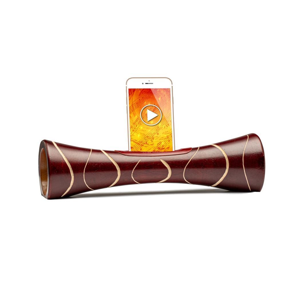 Mangobeat l'ENCEINTE en bois sans BLUETOOTH ni électricité pour téléphone portable - Amplificateur de son naturel en bois, station d'accueil et support Iphone