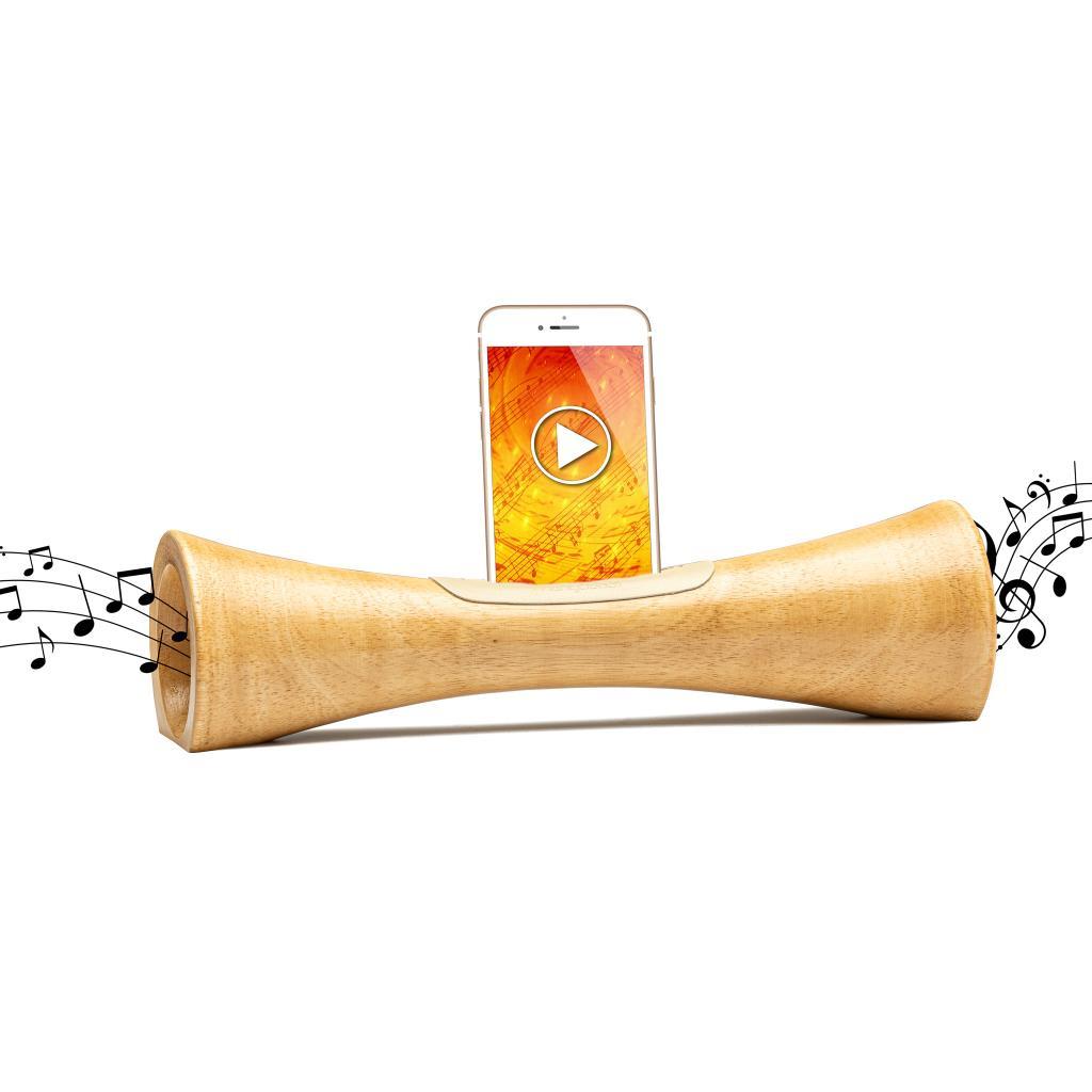 MANGOBEAT, enceinte naturelle en bois pour téléphone, Idée cadeau écologique,Amplificateur de son pour téléphone portable