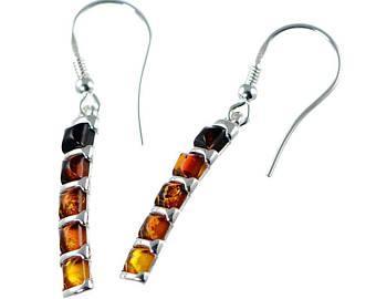Boucles d'oreilles  multicolores en ambre  de la Baltique sur argent 925