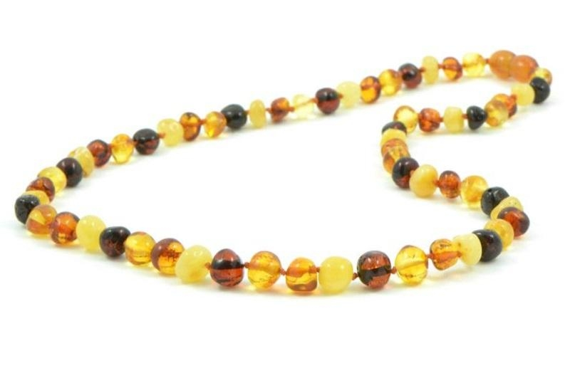 Collier en ambre multicolore 50 cm