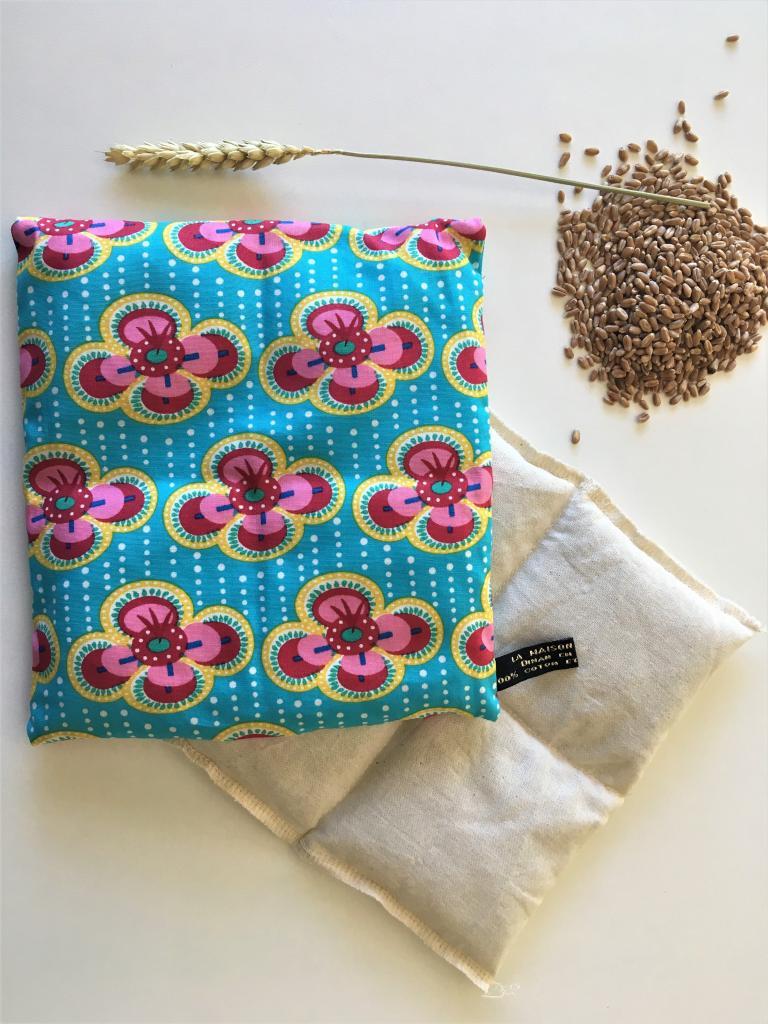 Petite bouillotte au blé biologique fleurs kitsch