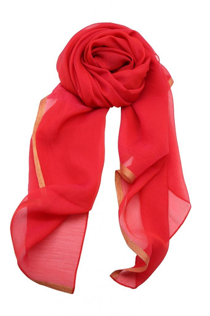 Grand carré Georgette soie rouge / Collection Sensuelle Liberté