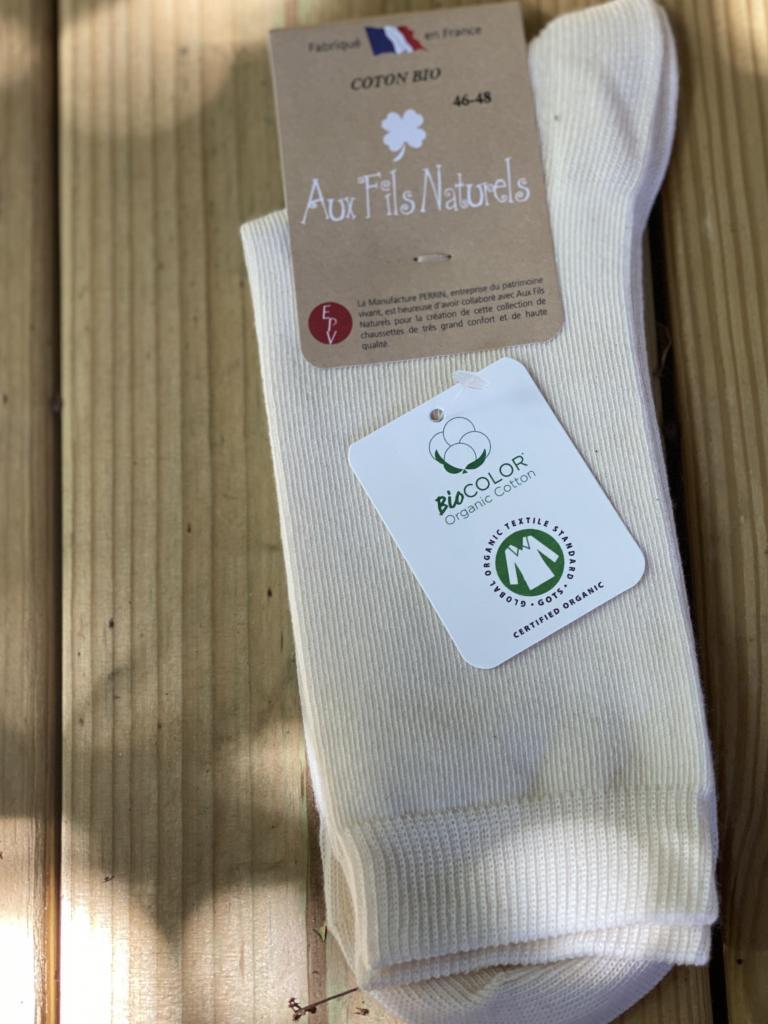 Lot de 2 paires de chaussettes coton bio écrues