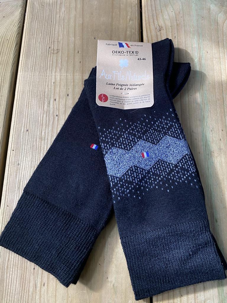 Lot de 2 paires chaussettes laine peignée mélangée (noir)