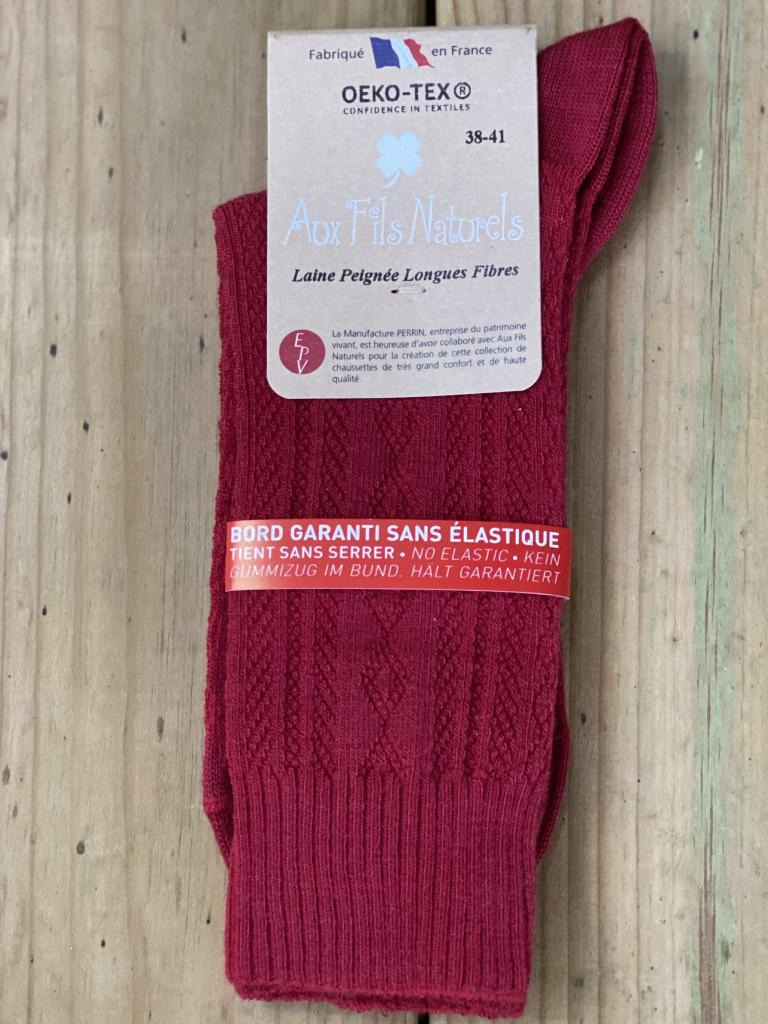Lot de 2 paires de chaussette femme sans élastique (rouge)