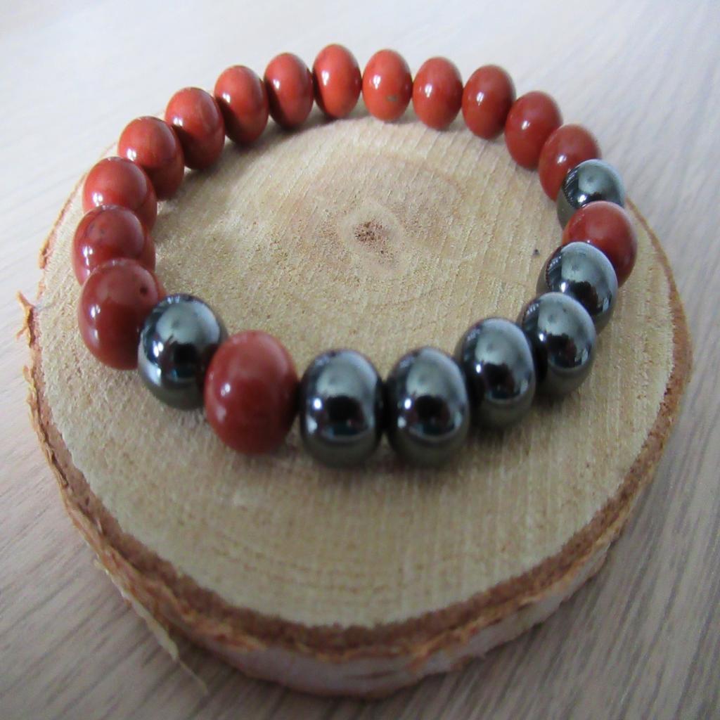 Bracelet Jaspe rouge et hématite