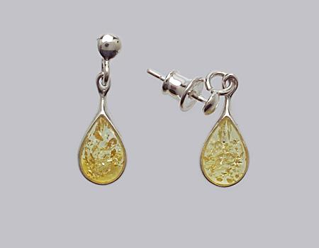 Boucles d'oreilles  en ambre citron  de la Baltique sur argent 925