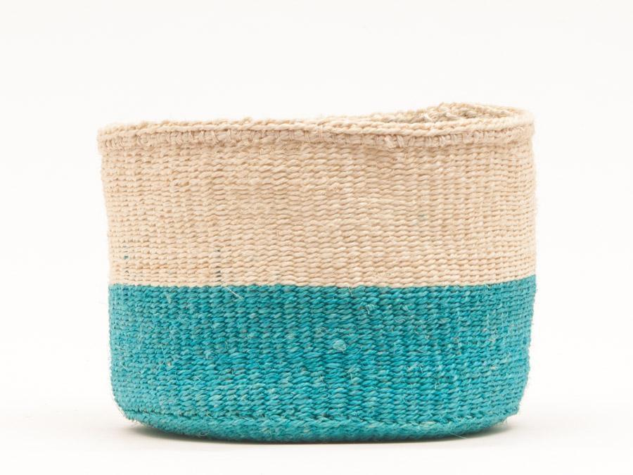 LAZIMA - le panier S tissé turquoise et sisal clair équitable