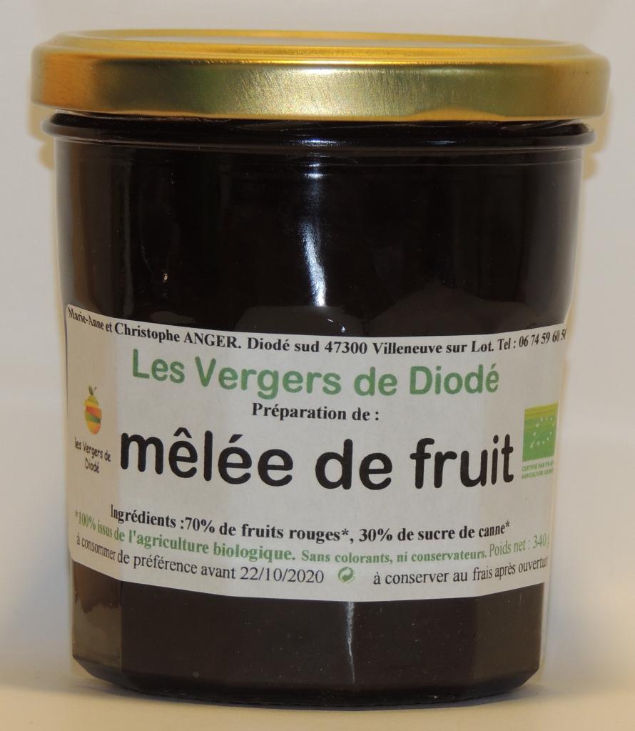 mêlée de fruit et sucre de canne