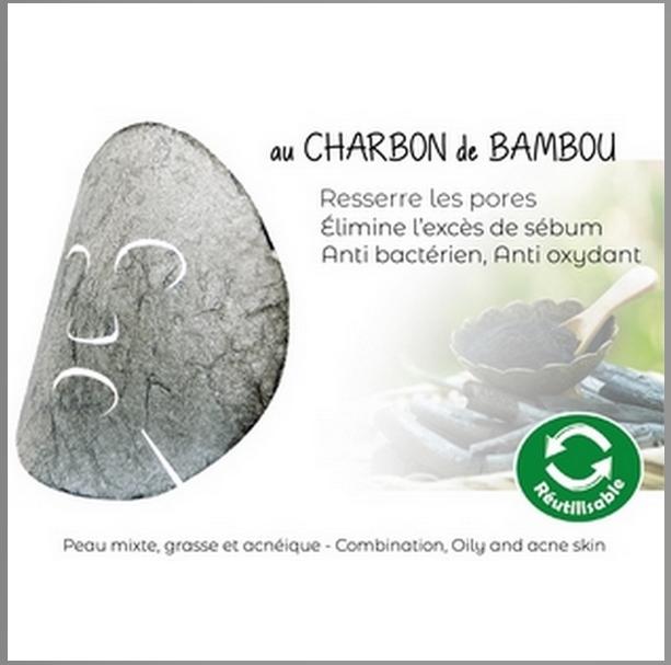 Masque Konjac au Charbon de Bambou Réutilisable