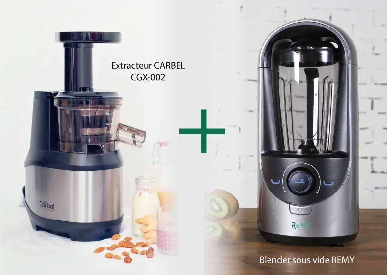 MAXI PACK : Extracteur Carbel CGX-002 + Blender sous vide REMY gris