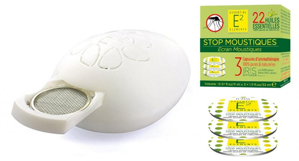 SOLDES : Diffuseur IRIS à capsule avec 1 télécommande + 1 Stop Moustiques Box incluse (360h de diffusion - CONTRE LES MOUSTIQUES)