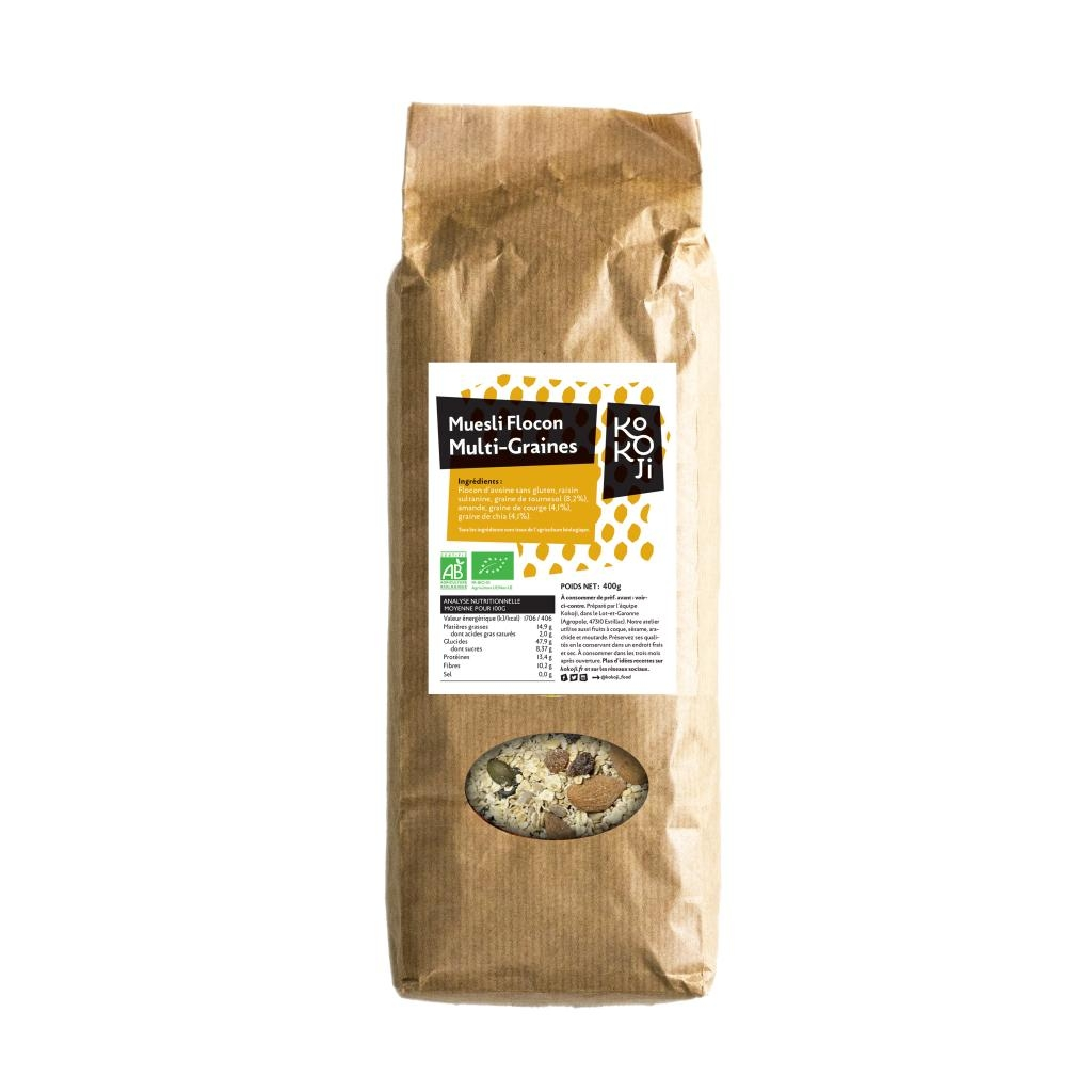 Muesli flocon Bio KoKoji Energie multi-graines : tournesol, courge, chia - 400g - Avoine sans gluten - Sans sucre ni matière grasse ajoutés - Vegan
