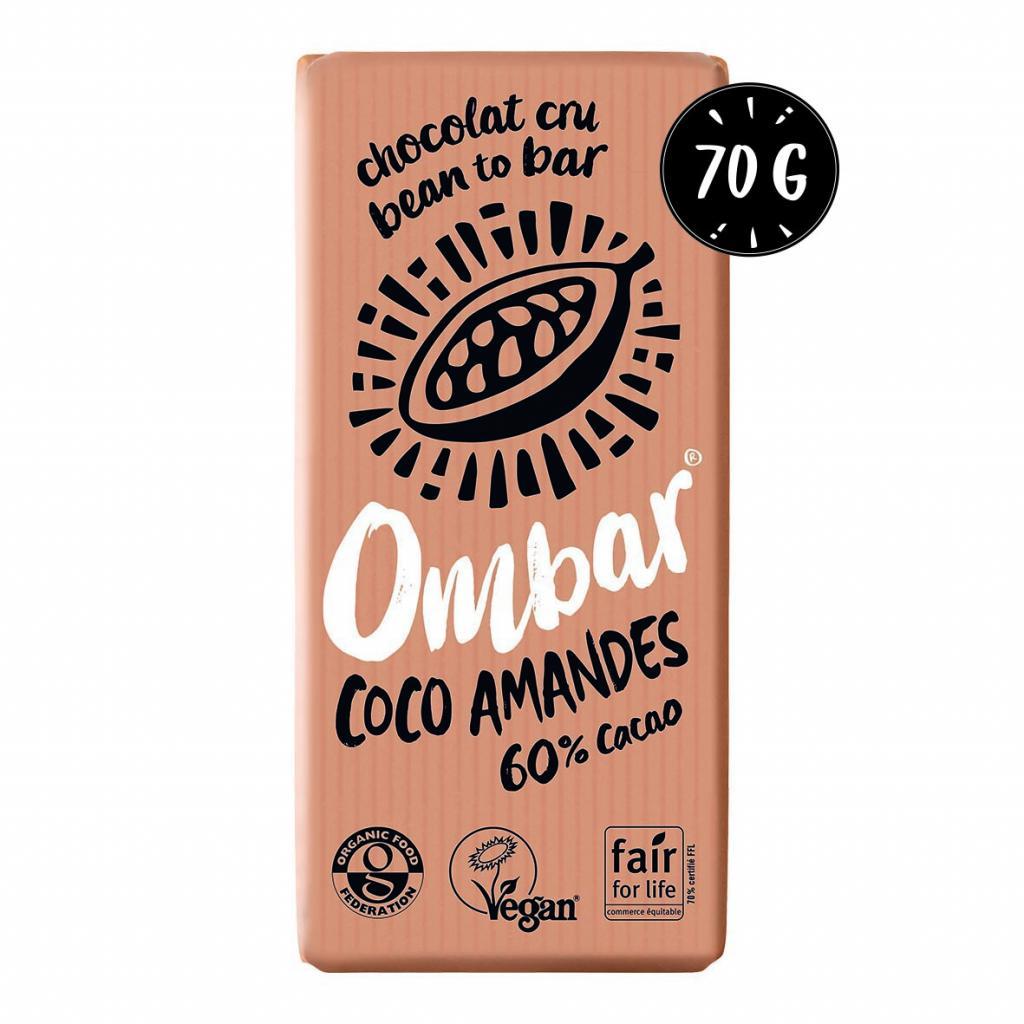 Chocolat Cru Coco - Eclats d'Amandes 70g Bio - Ombar