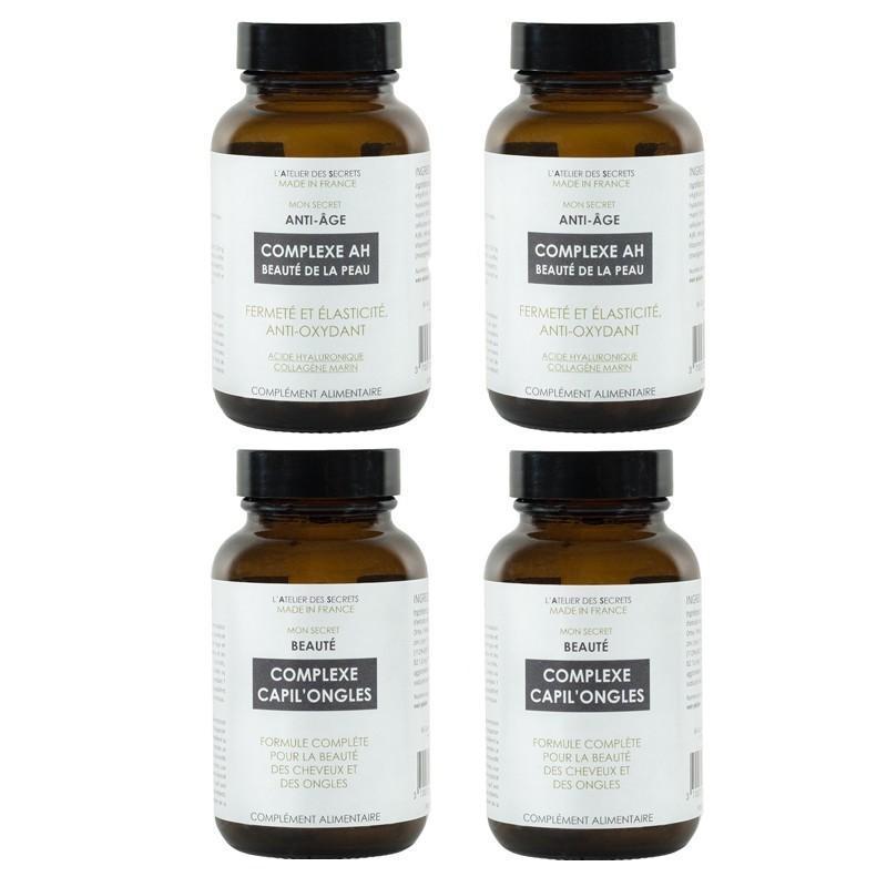 Cure de 2 mois - Antioxydant, beauté de la peau, des ongles et cheveux  (2 Complexe AH + 2 Complexe Capil'ongles)