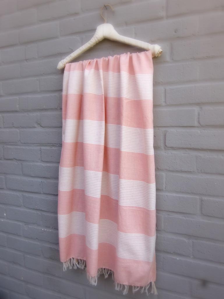Drap de bain tissé coton bio - ROSE POUDRE