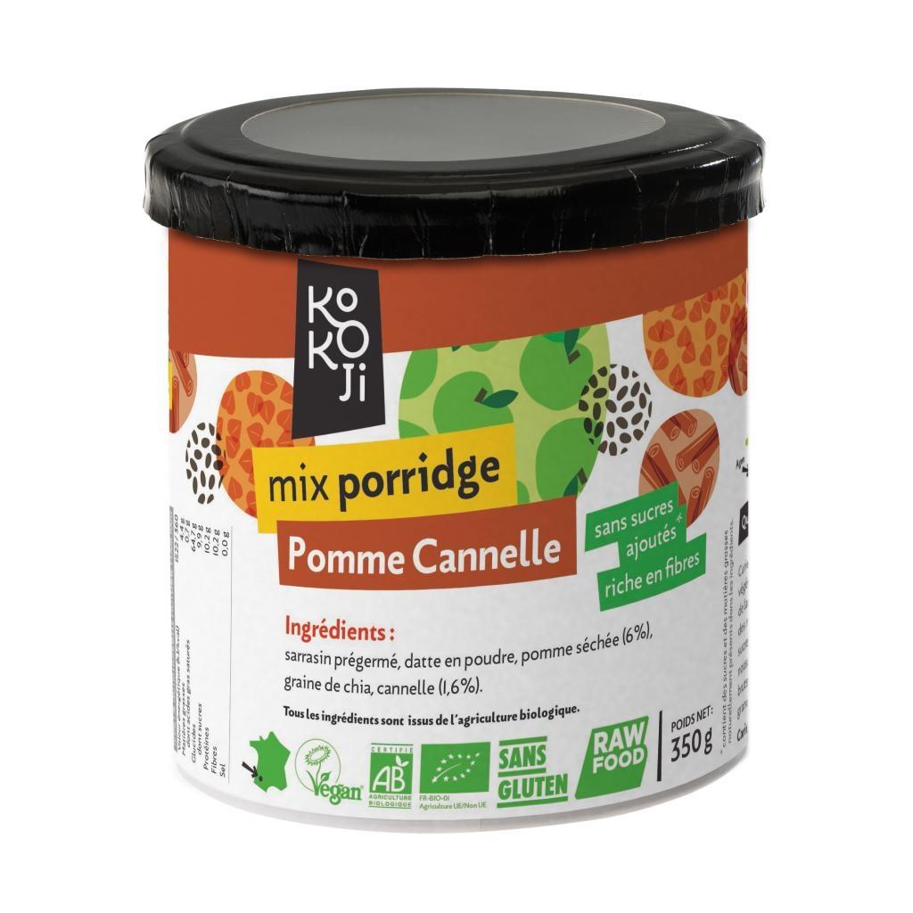Mix Porridge Pomme - Cannelle Bio KoKoji - 350g - Sans gluten - Sans sucre ni matière grasse ajoutés - Vegan - Rawfood - Fabrication française