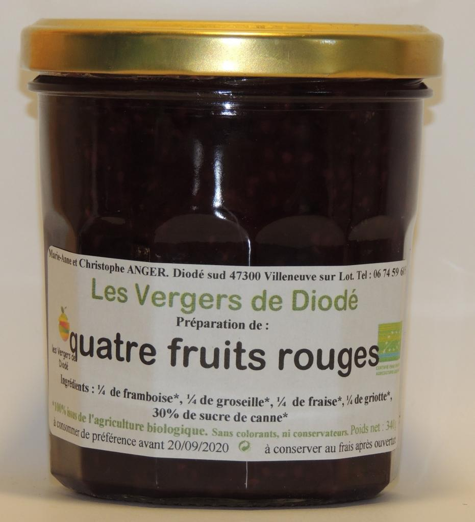 quatre fruits rouges et sucre de canne
