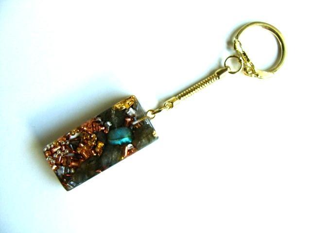 Rectangle porte clefs labradorite doré