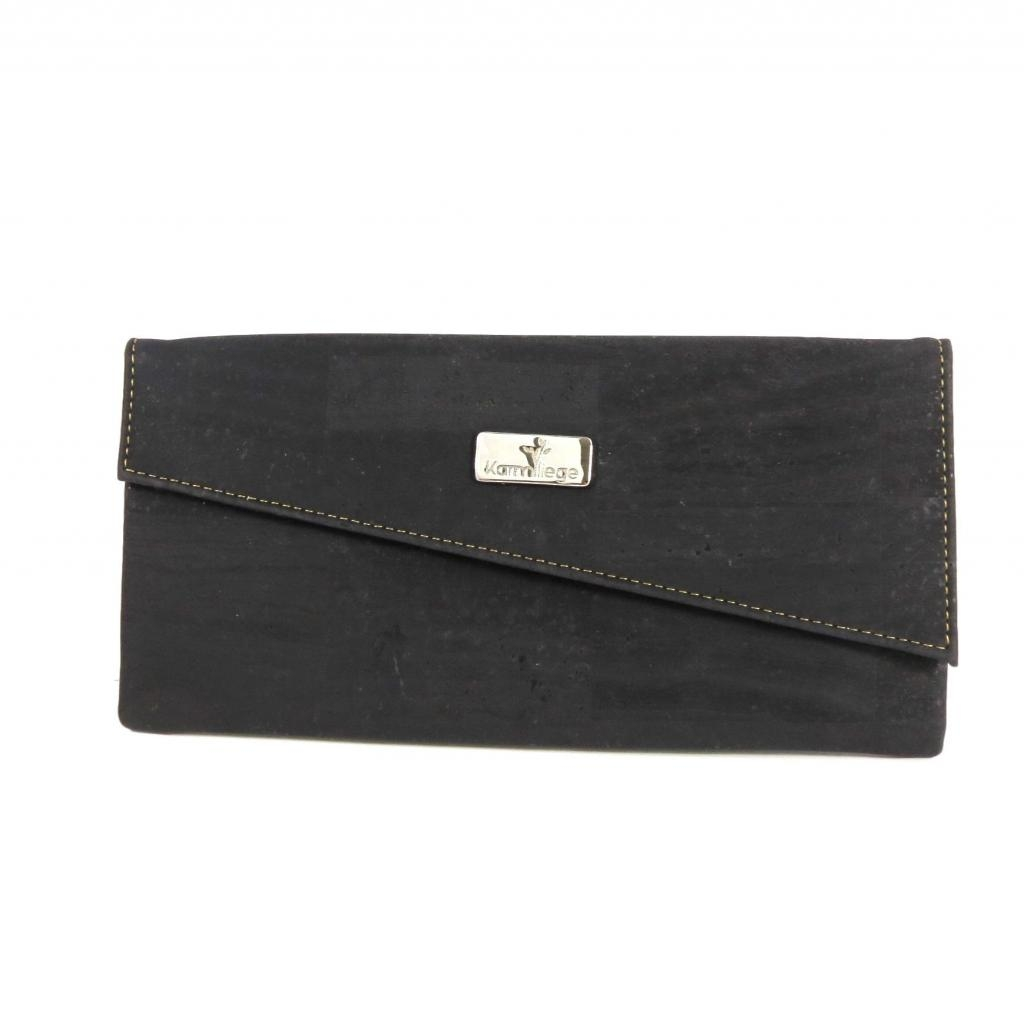 Pochette en liège noire avec bandoulière