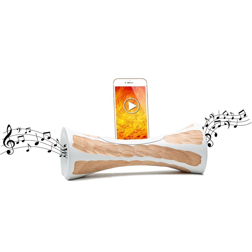 MANGOBEAT,ENCEINTE en bois sans BLUETOOTH pour téléphone,Amplificateur Iphone naturel,station d'accueil et support Iphone