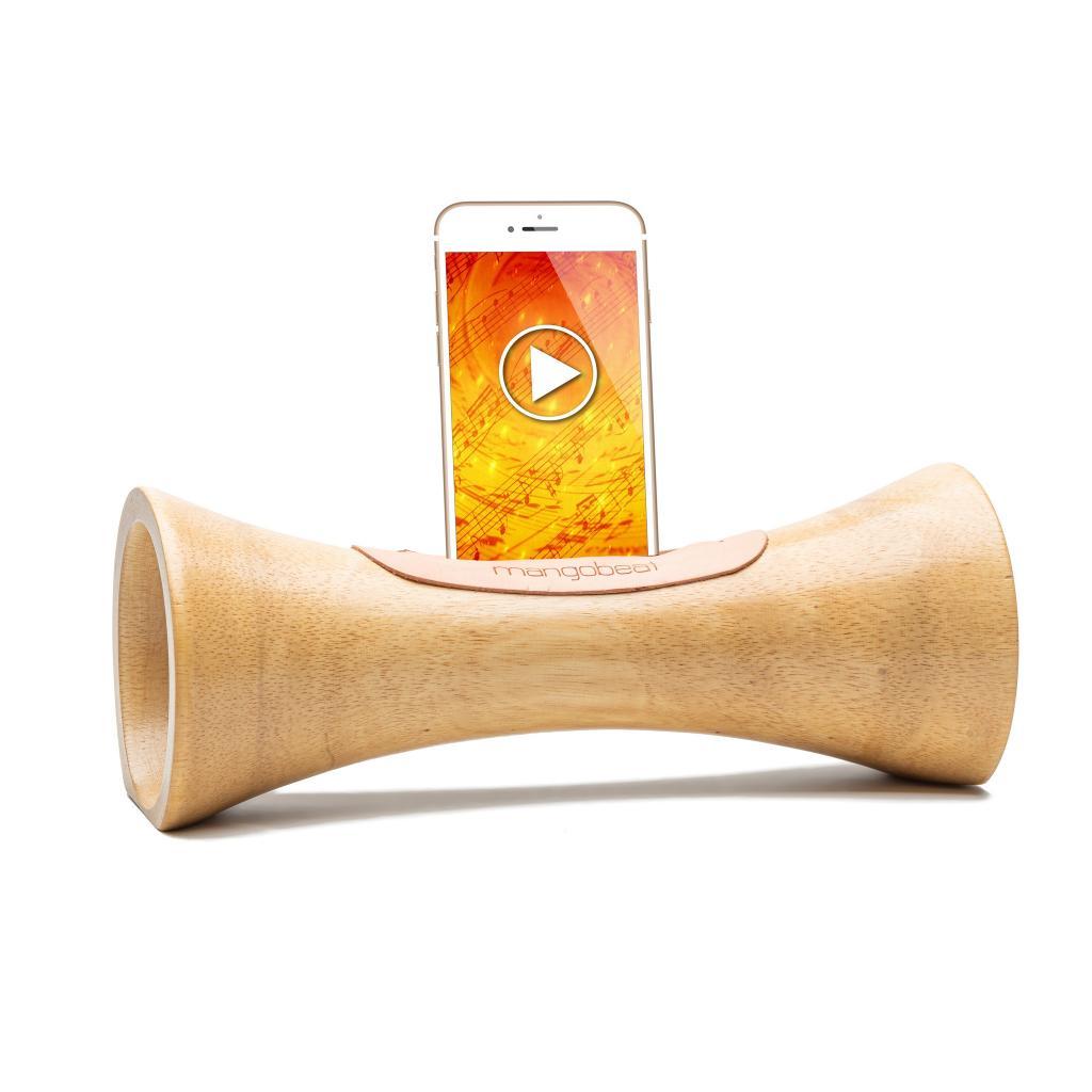 MANGOBEAT,ENCEINTE en bois sans BLUETOOTH pour téléphone portable,Amplificateur de son naturel,station d'accueil et support Iphone en bois