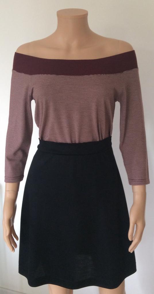 T-shirt femme manches 3/4 col BATEAU à bord côte large, rayures bordeaux, en pure laine mérinos COOLMAN