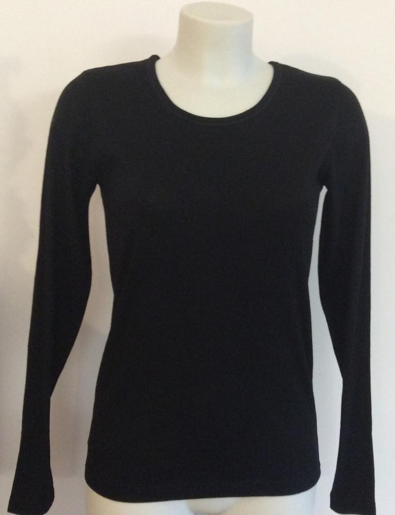 T-shirt Femme manches longues COL O pure laine mérinos NOIR