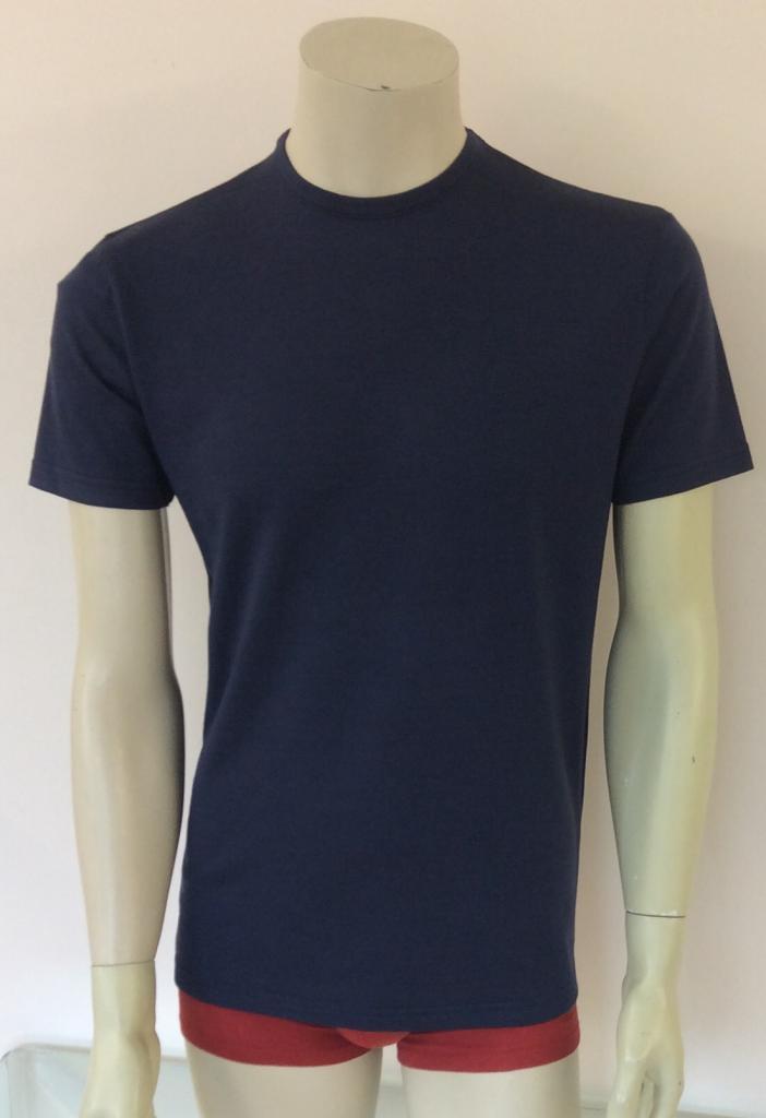 T-shirt homme manches courtes col O BLEU INDIGO en pure laine mérinos