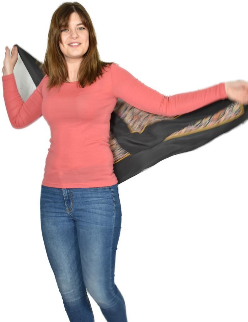 T shirt femme manches longues col O - Rose Corail en pure laine mérinos