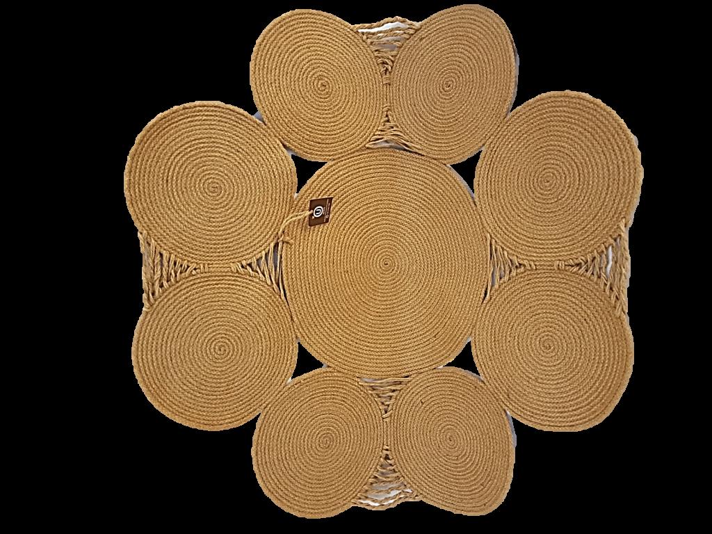 Tapis rond en fibre végétale (halfa)