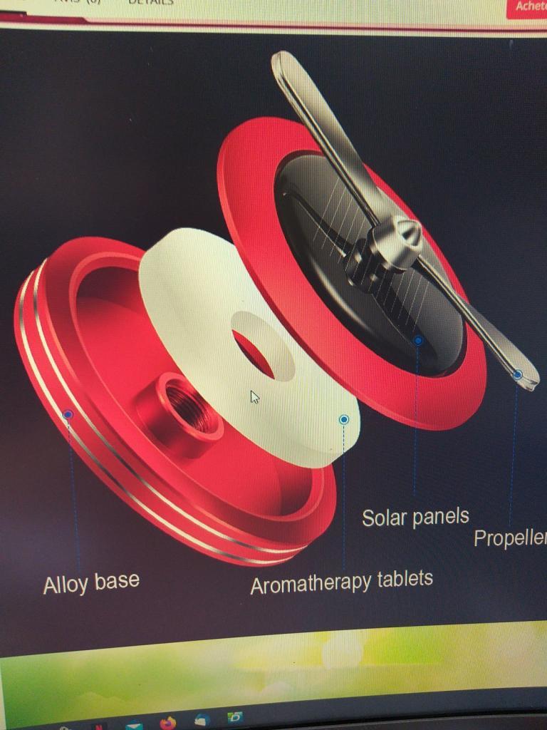 Ventilateur diffuseur huiles essentielles voiture solaire