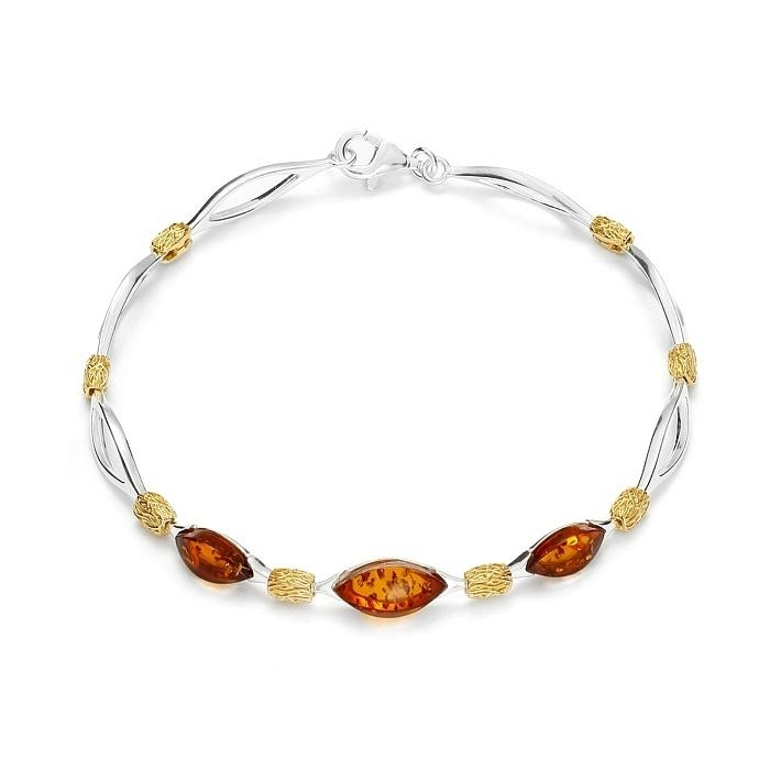 Bracelet en ambre de la Baltique sur argent rhodié 925
