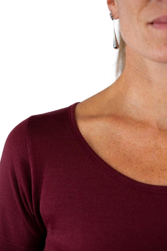 T-shirt femme manches courtes col arrondi, en pure laine mérinos BORDEAUX