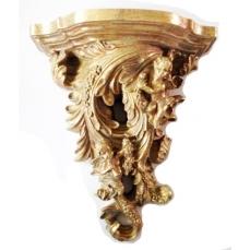 Console murale baroque avec chérubins, angelots, puttis dorée main 28x32x13.5 cm