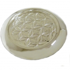 Dessous de bouteille laiton nickelé motif Fleur de vie D.12  H.1 cm D.int. 8.9 cm