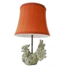 Lampe de chevet à pied poule, poulette Abat jour rond rouge garance. H. 38 cm