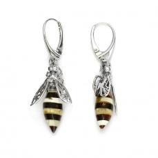 Boucles d'oreilles abeilles en ambre sur argent 925