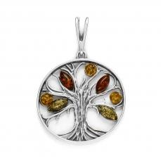 Pendentif arbre de vie en ambre multicolore sur argent 925