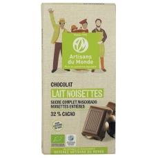 Chocolat au lait équitable et bio Noisettes - 100gr
