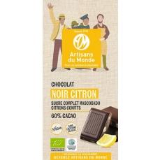 Chocolat noir équitable et bio au citron - 100gr