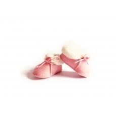 Chaussons bébé Rose fourrés en peau de mouton